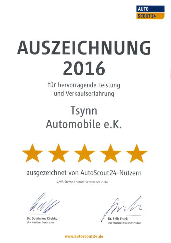 Tsynn Automobile Auszeichnung Autos Scout 24 2016
