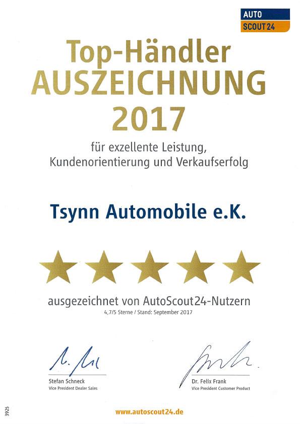 Tsynn Automobile Auszeichnung Autos Scout 24 2017