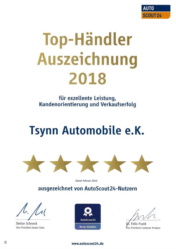 Tsynn Automobile Auszeichnung Autos Scout 24 2018