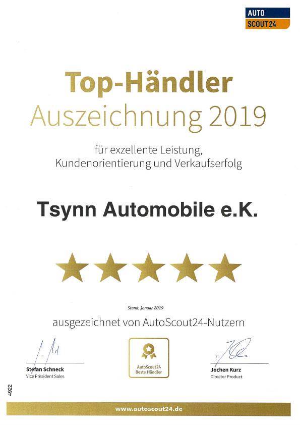 Tsynn Automobile Auszeichnung Autos Scout 24 2019