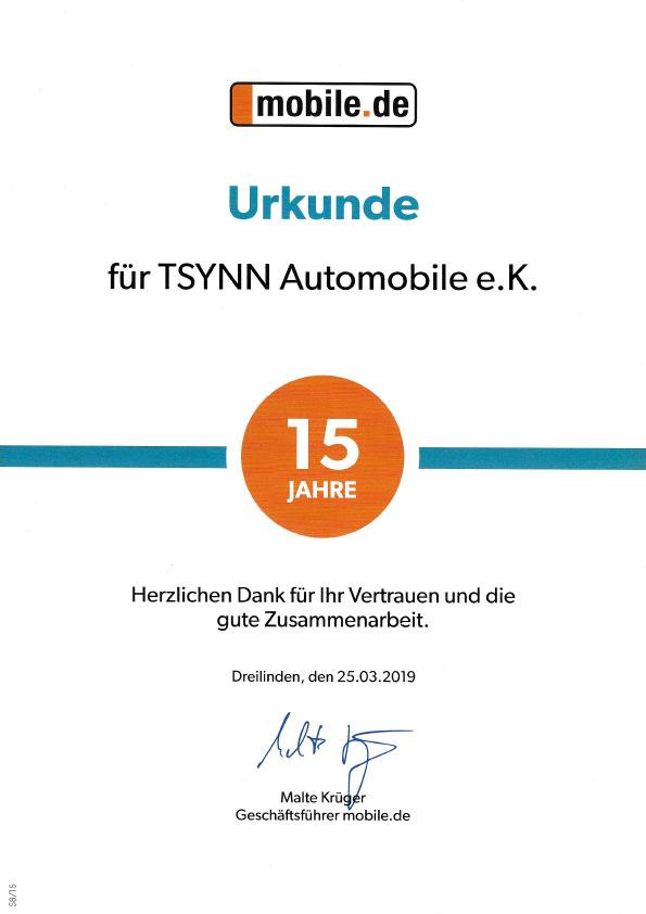 Tsynn Automobile Auszeichnung Mobile 15 Jahre